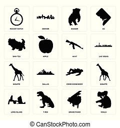 Set of koala, grand piano, long island, crime scene body, giraffe, ak47, shih tzu, badger, pocket watch icons