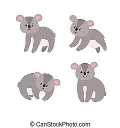 Set of koalas. Happy koalas isolated in white background. Vector illustration