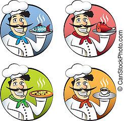 set, of, kok, vector, cook, man, spotprent, italiaanse