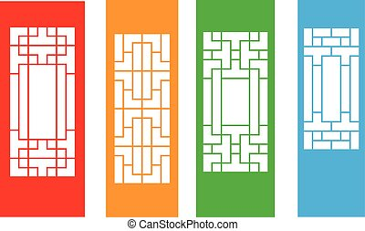 Set of Korean door isolated on white, vector