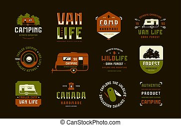 Set of label and logo design for camping lifestyle