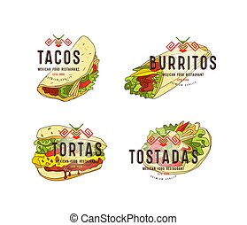 Set of label and logo design for mexican food restaurant....
