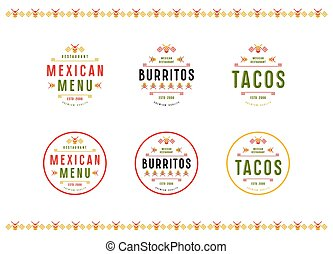Set of label, logo and badge for mexican restaurant. Color...