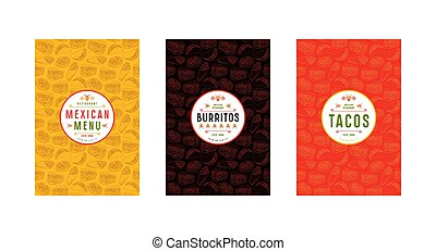 Set of label, logo and seamless pattern for mexican...