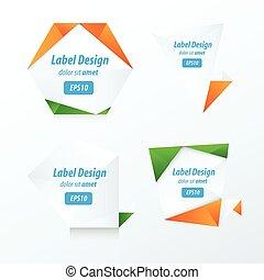 Set Of Label Vector Design green, blue, orange