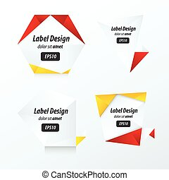 Set Of Label Vector Design red, yellow, black color