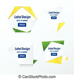 Set Of Label Vector Design yellow, blue, green