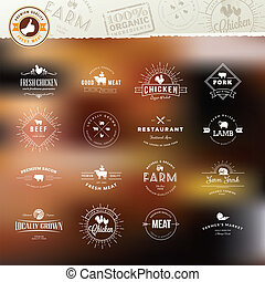Set of labels and badges for food