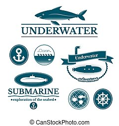 Set of labels and badges underwater
