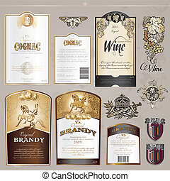 Set of labels and elements - Set of different label designs...