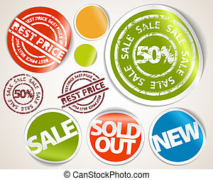 Set of labels and stickers - sale and best price - Set of...