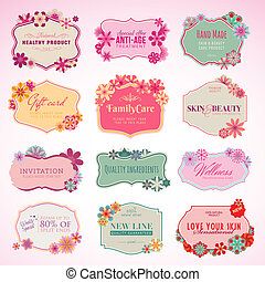 Set of labels and stickers - Set of vector cosmetics labels...