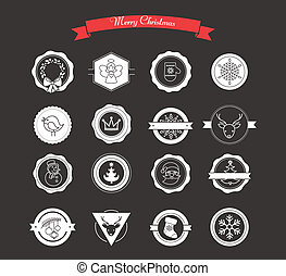 Set of labels, designs, stickers and elements for Christmas...