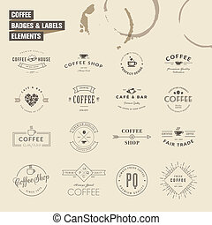Set of labels elements for coffee