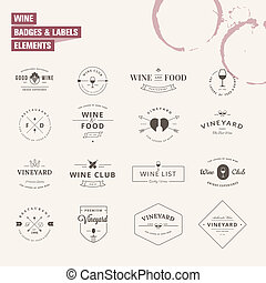 Set of labels elements for wine