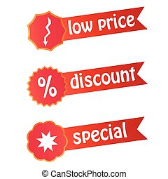 Set of labels for discount sales