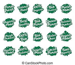 Set of labels for food