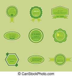 Set of labels for organic and natural food
