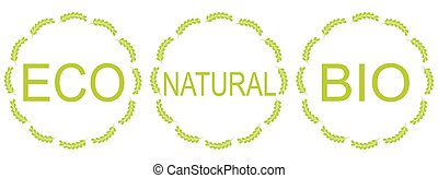 Set of labels for organic, natural, eco or bio products