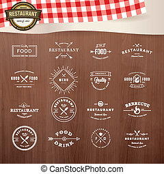 Set of labels for restaurant - Set of vintage style elements...