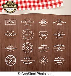 Set of labels for restaurant - Set of vintage style elements...