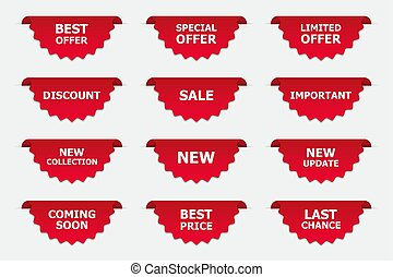 Set of labels in red isolated on white background. Banners for promotion. Vector illustration