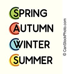 set of Labels of four Seasons. Phrases with colored tags.