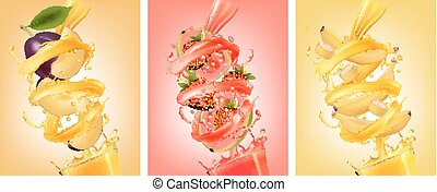 Set of labels of of fruit in juice splashes. Plum, guava, strawberry,banana. Vector.
