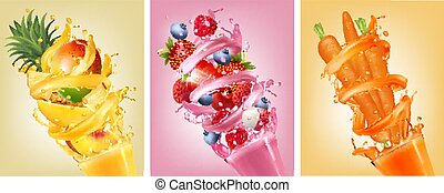 Set of labels of of fruit in juice splashes. Strawberry,...
