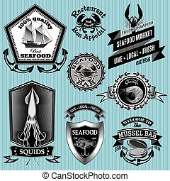 set of labels on the topic seafood