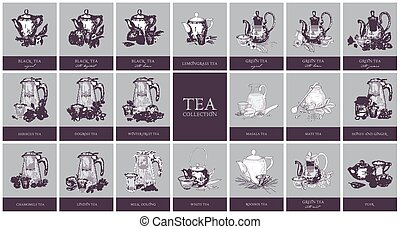 Set of labels or tags with different types of tea - black, ...
