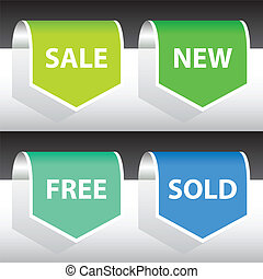 labels - set of labels - sale, new, free, sold