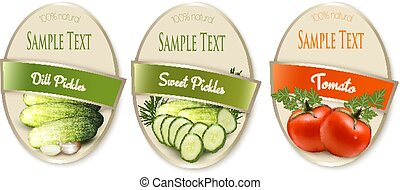 Set of labels with ecological tomato and pickles isolated....