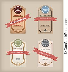 Set of  labels with retro vintage styled design.