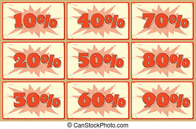 Set of labels with sale percents