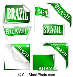 "Set of labels with the word ""Brazil"""