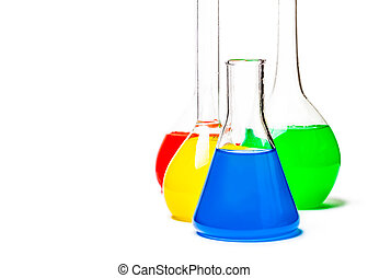 set of laboratory flasks