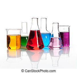 Set of laboratory flasks with a colored liqiuds