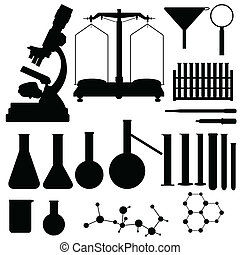 Set of laboratory silhouettes, vector