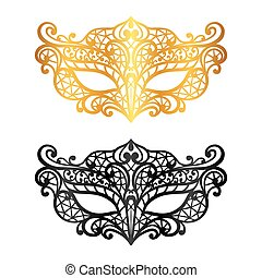 Set of lace carnival venetian masks on white background