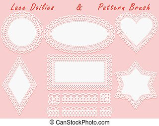 Set of lace elements, vintage paper doily and openwork...