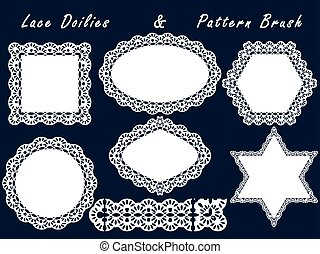 Set of lace napkins and pattern brush. For scrapbook, templates design baby shower, cards and invitations.