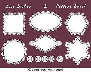 Set of lace napkins different shapes and patterned brush.White element for design isolated on a dark background.
