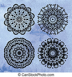 Set of lace ornaments on watercolor background - Set of four...