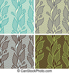 Set of lace seamless patterns with abstract flowers.