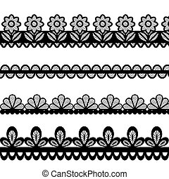Set of lace vector borders