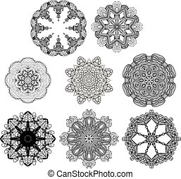 Set of lace vector round patterns