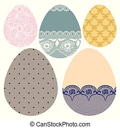 Set of lacy decorative Easter eggs.