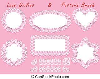 Set of lacy frames napkins and ribbon pattern brush.