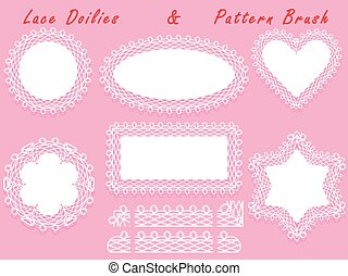 Set of lacy frames napkins and ribbon pattern brush.